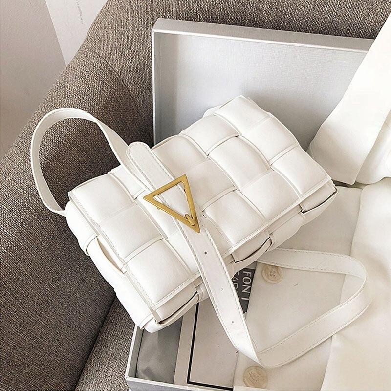 Mode tissage sacs à bandoulière pour femmes 2021 qualité en cuir PU épais chaîne épaule sacs de messager femme sac à main et sac à main