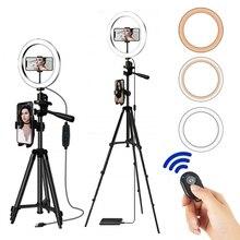 Anel de luz de led para selfie, suporte ajustável de anel de luz com tripé para selfie e selfie, iluminação para celular e fotografia