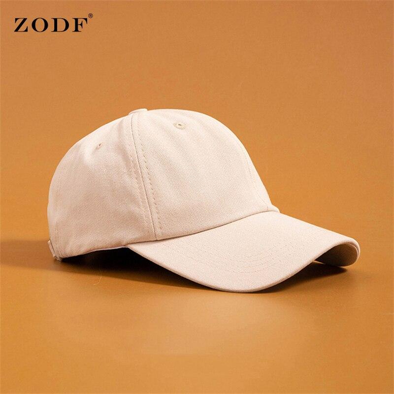 ZODF High Quality New Women Cotton Solid Baseball Caps Men Sport Harajuku Cap Adjustable Outdoor Snapback Dad Hats HY0130