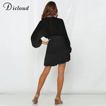 Пикантное женское летнее платье DICLOUD с V-образным вырезом, белое кружевное вечернее мини-платье с длинным рукавом, элегантная одежда с оборками на осень 2020 5
