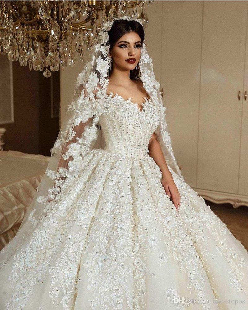 Luxury 3d Lace Flowers Off Shoulder Ball Gown Wedding Dresses