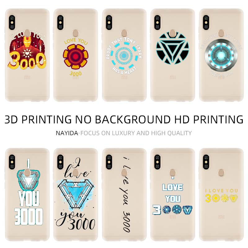 Phone Case Cover Soft For Xiaomi 9 8 Mi A1 A2 A3 lite F1 6 5X se For Redmi Note 8 <font><b>7</b></font> 6 5 Marvel Iron Man I Love You <font><b>3000</b></font> image