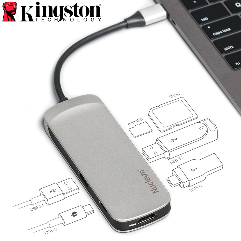 Kingston Nucleum USB C Multi Hub 7 in 1 HDMI Type-C Adapter USB3.1 Reader Charging for Iphone MacBook Connect USB&Micro/SD Card