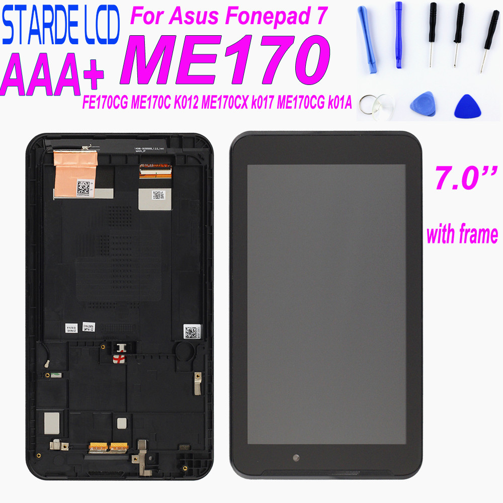 For 7'' <font><b>Asus</b></font> MeMO Pad 7 FE7010CG FE170CG FE170 ME170C ME170 <font><b>K012</b></font> K017 LCD Display Touch Screen Digitizer Assembly with Frame image
