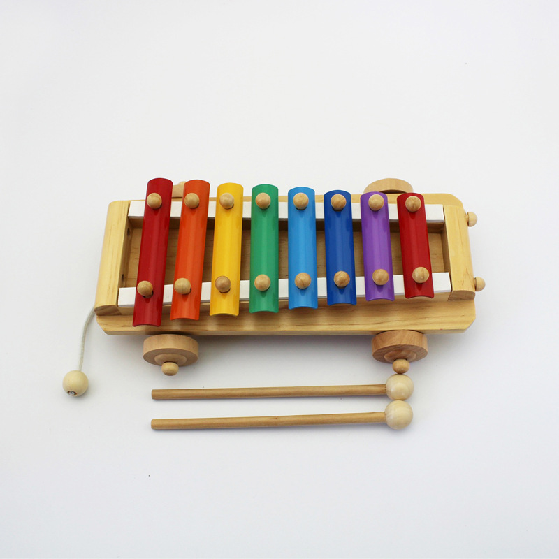 Wooden Drag Octave Toy Piano Xylophone Infants Children Baby Educational Music Toy 1-3 Years Old Baby