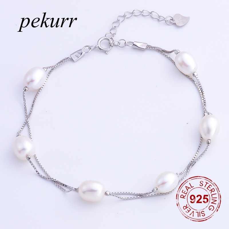 Pekurr 925 スターリングシルバー 7.3 ミリメートルオーバル天然淡水真珠のブレスレット 6 ビーズジュエリーダブルボックスチェーンバングル