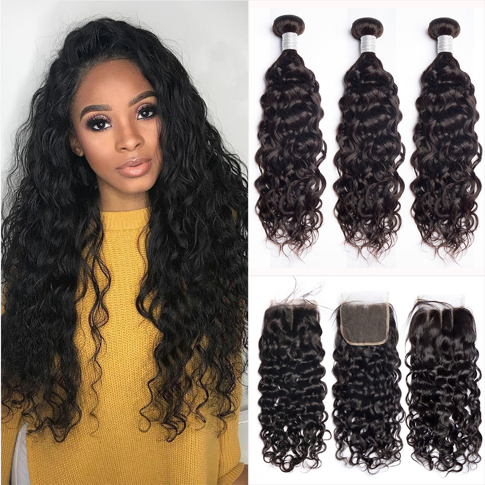 Alibele Malaysian Water Wave Bundles with Closure Remy Wavy Human Hair Bundles With Closure 3 4 Bundles With 4x4 Lace Closure