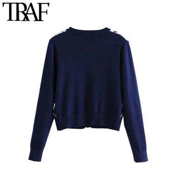 Vintage Stylish Geometric Pattern Short Knitted Sweater 2