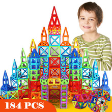 Minijuego de construcción de diseñador magnético para niños, juguete de construcción de plástico, bloques magnéticos, educativo, 184 Uds.