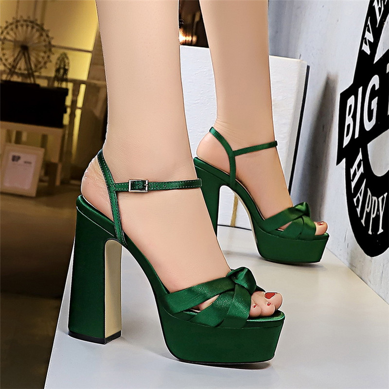 BIGTREE 12CM Platform High Heels Silks Hollow Out Sandals Summer Sexy Ankle Strap Open Toe Gladiator Party Dress Women Shoes