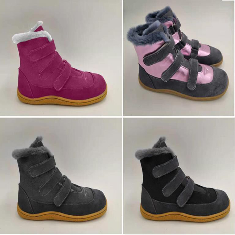 TipsieToes Лидирующий бренд Босиком натуральная кожа для маленьких девочек и мальчиков детская обувь модные зимние сапоги