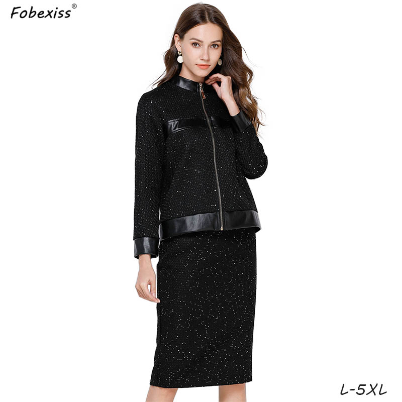 Black Tweed Skirt Suits 5XL Plus Size Elegant Office Lady Blazers Jackets Midi Pencil Skirt Suits 2020 Autumn Winter Women Suits