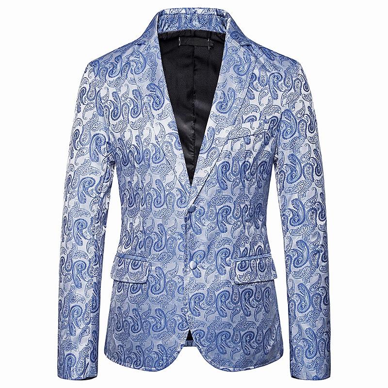 Fashion Paisley Jacquard Blazer Men 2019 Autumn New Slim Fit Single Breasted Mens Blazer Jacket Party Wedding Prom Blazer Homme