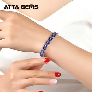 Image 5 - Tanzanite סטרלינג כסף צמיד 58 חתיכות של טנזנייט מלכותי יוקרה סגנון לנשים תכשיטים חדש שנה מתנות