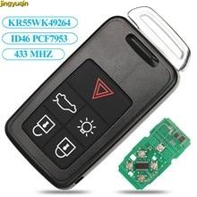 Jingyuqin السيارة عن بعد مفتاح 434Mhz ID46 رقاقة لفولفو KYDZ S60 S60L S80 V40 V60 XC60 XC70 5 مفتاح ذكي بزر
