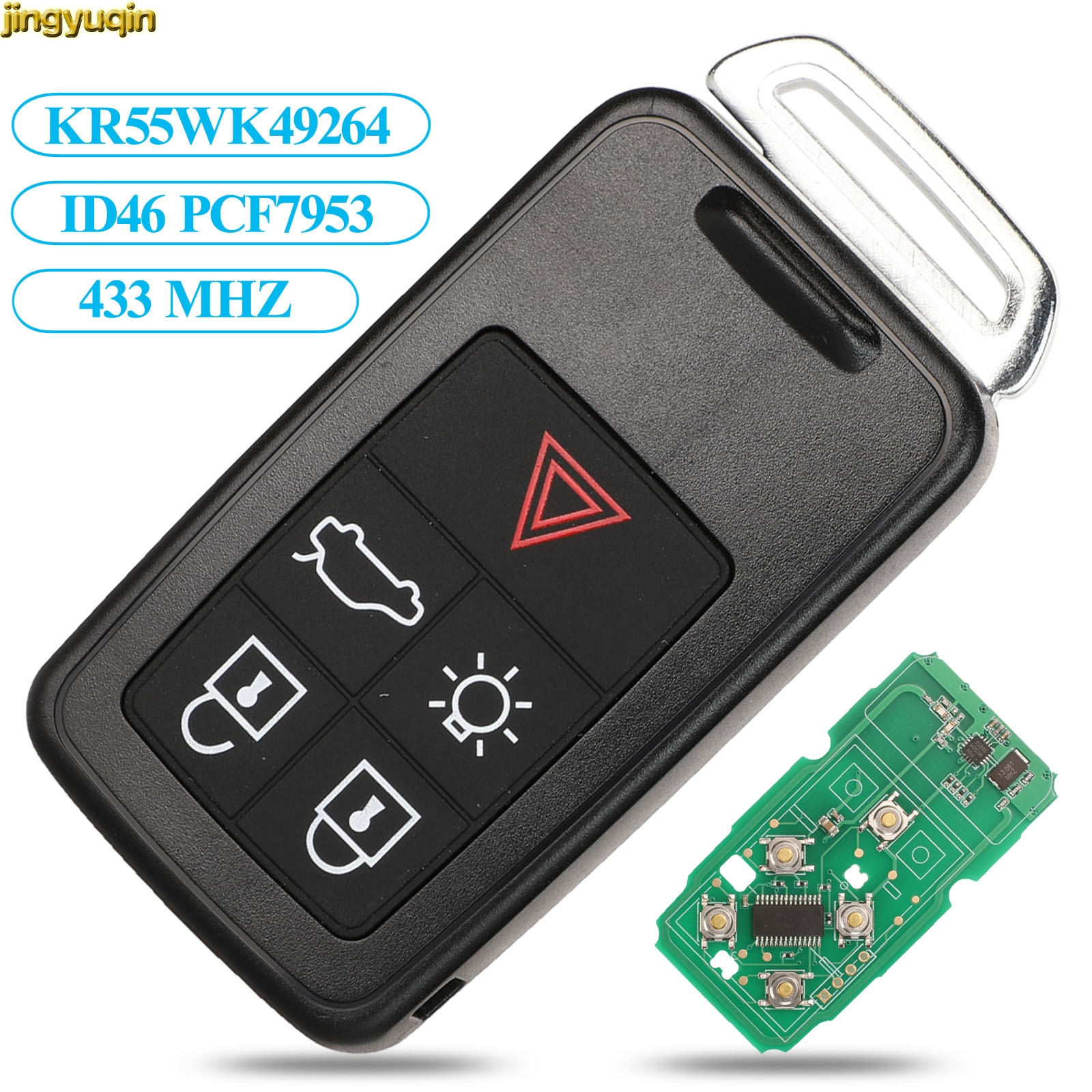 Jingyuqin дистанционный ключ автомобиля 434 МГц ID46 чип для Volvo KYDZ S60 S60L S80 V40 V60 XC60 XC70 5 кнопочный умный ключ