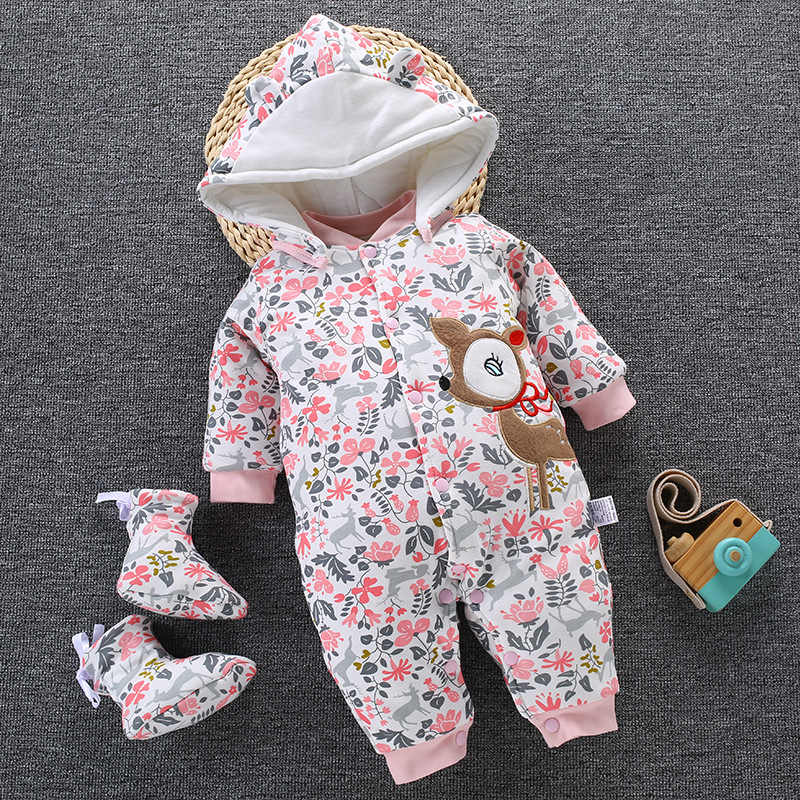2019 Baby Winter Romper For Newborn Girl Boy Clothes Toddler Baby Jumpsuit Overalls Thick Warm Baby Girl Rompers Infant Clothing