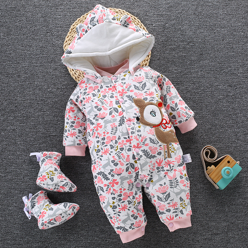 2019 Baby Winter Romper For Newborn Girl Boy Clothes Toddler Baby Jumpsuit Overalls Thick Warm Baby Girl Rompers Infant Clothing-in Rompers from Mother & Kids
