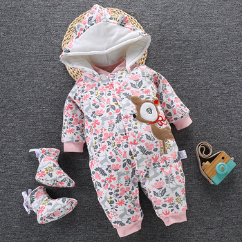 цена на 2020 Baby Winter Romper For Newborn Girl Boy Clothes Toddler Baby Jumpsuit Overalls Thick Warm Baby Girl Rompers Infant Clothing