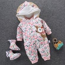 2020 ベビー冬のロンパース新生児ガールボーイ服幼児のジャンプスーツオーバーオール厚い暖かい女の赤ちゃんロンパース幼児服