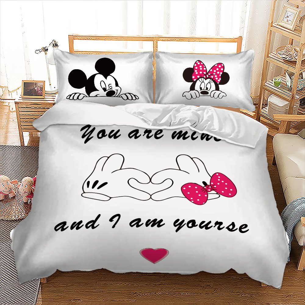 Disney Mickey Minnie Bedding set Hand Duvet Cover Pillowcases Twin Full Queen King Size kids beddings home Textiles 3pcs