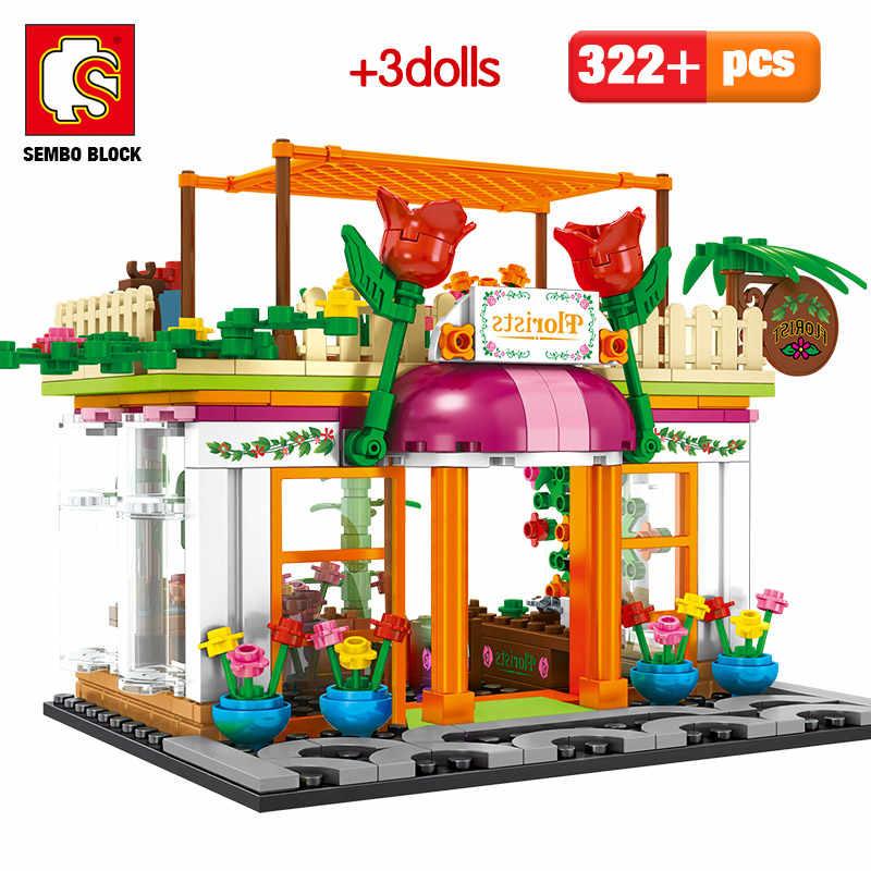 SEMBO Stadt Street View Bausteine Architektur Haus Lebensmittel Shop Einzelhandel Shop Cafe Restaurant KTV Ziegel Kinder Spielzeug