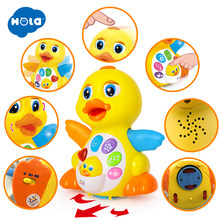 HOLA 808 Musical Flapping Yellow Duck Action Educational Learning and Walking Toy for 1 Year Old Baby Toddler Girl Boy Xmas Gift(China)
