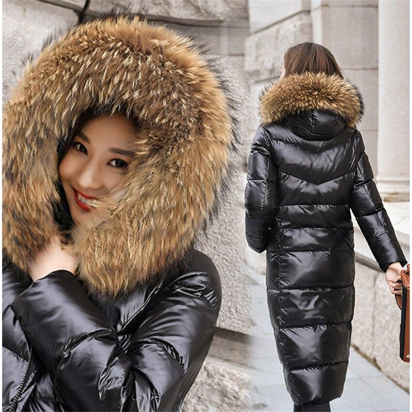 New Winter Female Hooded Thicken Jacket Women Big Fur Collar White Duck   Down   Jacket Big Size S-6XL Lady Midi-long   Down     Coat   941