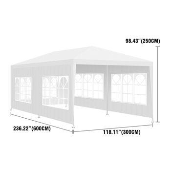 3x6m Waterproof Outdoor Tent for Garden Party Gazebo Marquee with 6 Movable Sidewalls Camping Picnic