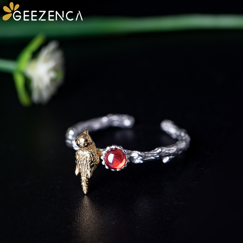 925 Sterling Silver Gold Plated Bird Garnet Open Ring For Women Fine Jewelry Original Design Handmade Craft Gemstone Rings Gift