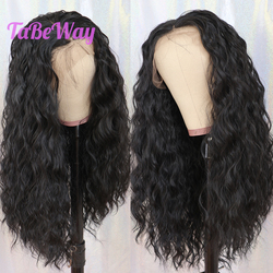 TaBeWay 13x6 Black Synthetic Lace Front Wigs Loose Curly Long Hair Resistant Glueless With Natural Hairline for Women