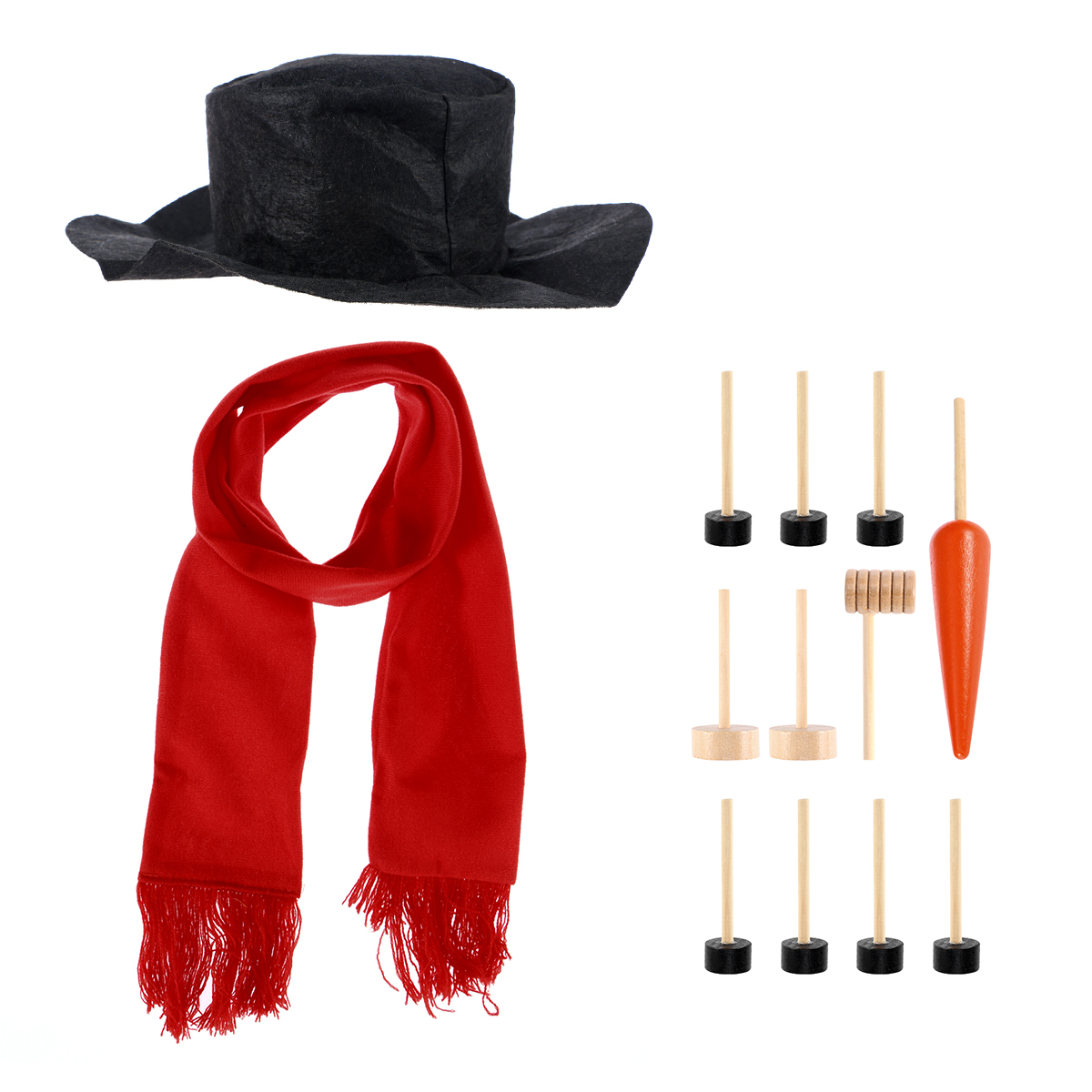 1 Set Snowman Decorating Dressing Kit Winter Holiday Outdoor Christmas Gift Hat Scarf Pipe Eyes Mouth Button Nose Accessories