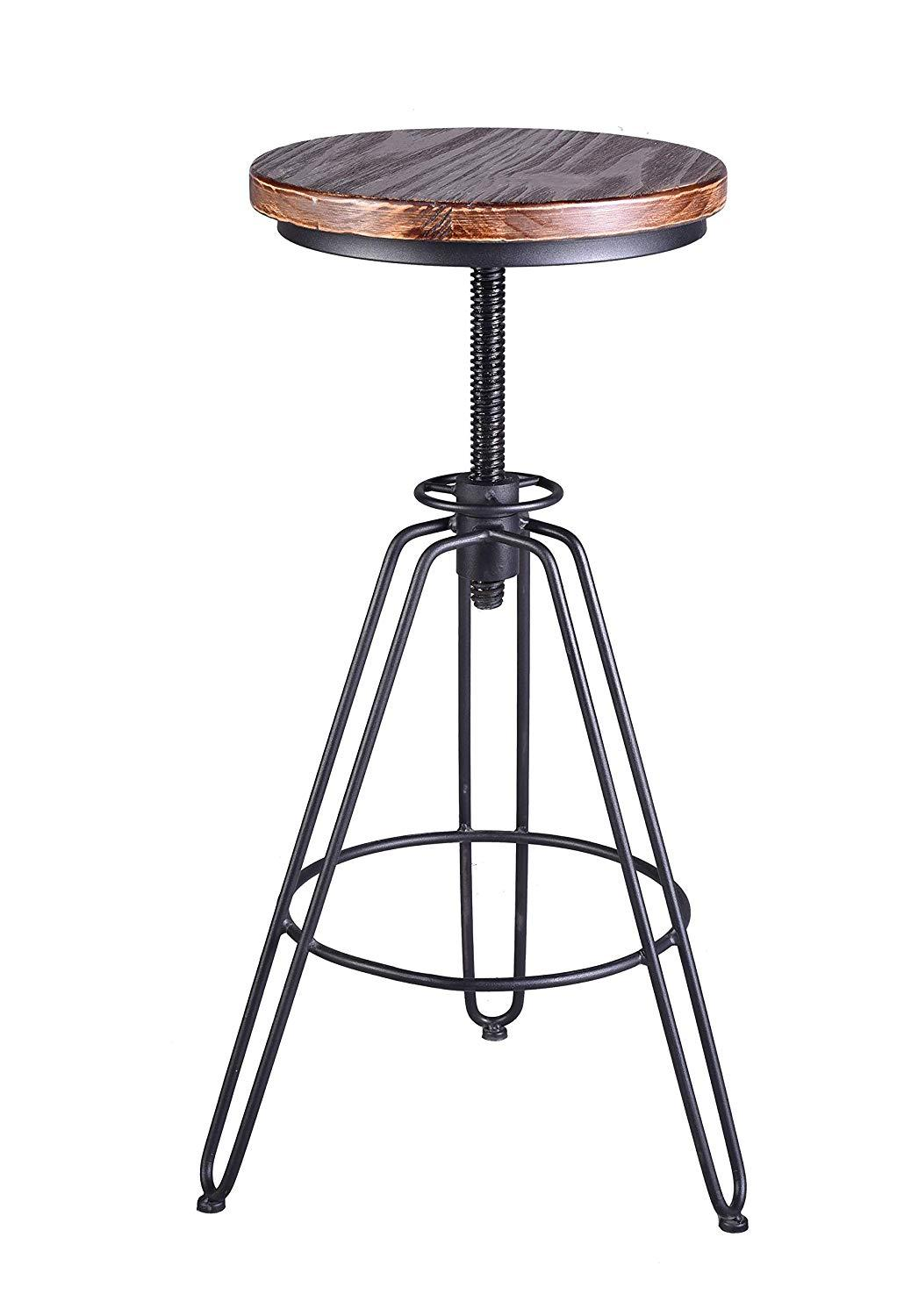 Vintage Industrial Bar Stools Wood Metal Bar Stool Adjustable Height Swivel Chairs Counter Bar Stools