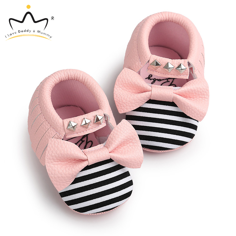 Soft PU Leather Pink White Bowknot Baby Girl Shoes Soft Soled Non-slip Princess Girls Toddler Shoes First Walkers Spring Summer