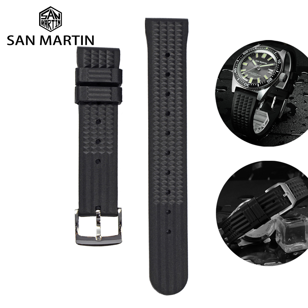 San Martin Watch Parts Waterproof Rubber Strap Stainless Steel Buckle No Insert 20mm For 62MAS 007 Watch