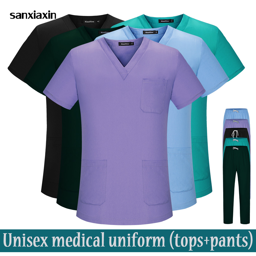 Short-sleeved Nurse Uniforms Hospital Doctors Medical Sets Dental Clinic Work Clothes Nursing Scrubs Tops Pants Pharmacy Costume