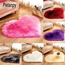 купить Love Heart Rugs Artificial Wool Sheepskin Hairy Carpet Faux Floor Mat Fur Plain Fluffy Soft Area Rug for bedroom living room по цене 394.01 рублей