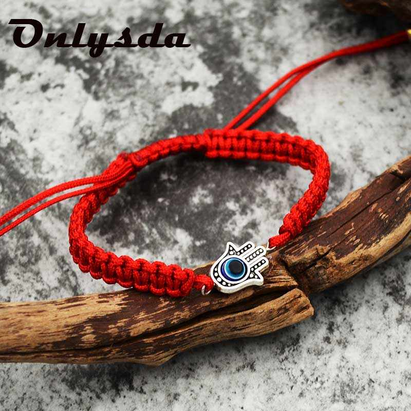 Onlysda Lucky Kabbalah Red String ด้าย Hamsa สร้อยข้อมือสีฟ้าตุรกี Evil Eye Charm ผู้หญิง Handmade เครื่องประดับ OSL164