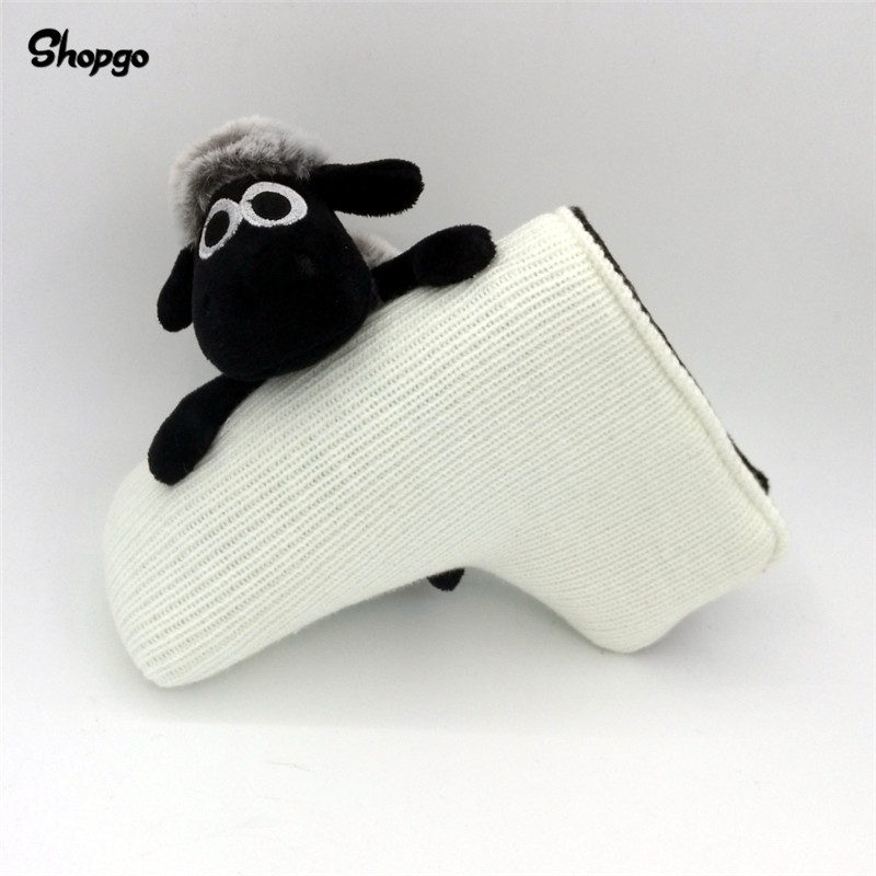 [Big Animal] Cute Sheep Golf Blade Putter Head Cover Wool Knitting With Magnetic Closure Golf Accessories Funny Golf Cover