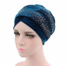 2020 Women Rhinestone Velvet Turban Caps Muslim Head Scarf Hat Bonnet Femme Musulman Islamic Under Scarf Ladies African Wrap