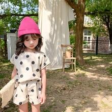Лето 2021, комплект одежды с коротким рукавом для маленьких девочек, платье в горошек с пышными рукавами, одежда для маленьких принцесс
