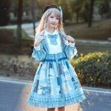 Kawaii/повседневное милое платье в стиле Лолиты для девочек винтажное кружевное платье с бантом и высокой талией с принтом в викторианском стиле kawaii gothic lolita op loli