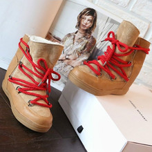 Snow-Boots Platform Lace-Up Brown Black Design Women Fleece Female Winter Hight Increasing
