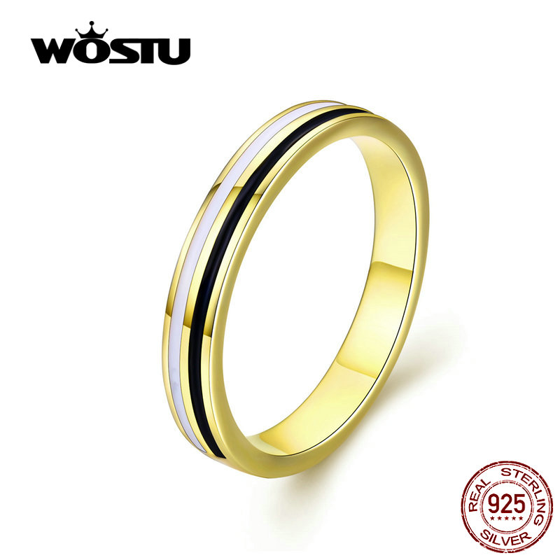 WOSTU Hot Fashion Ring 100% 925 Sterling Silver Minimalist Rings Finger For Women Wedding Engagement Silver 925 Jewelry CQR523