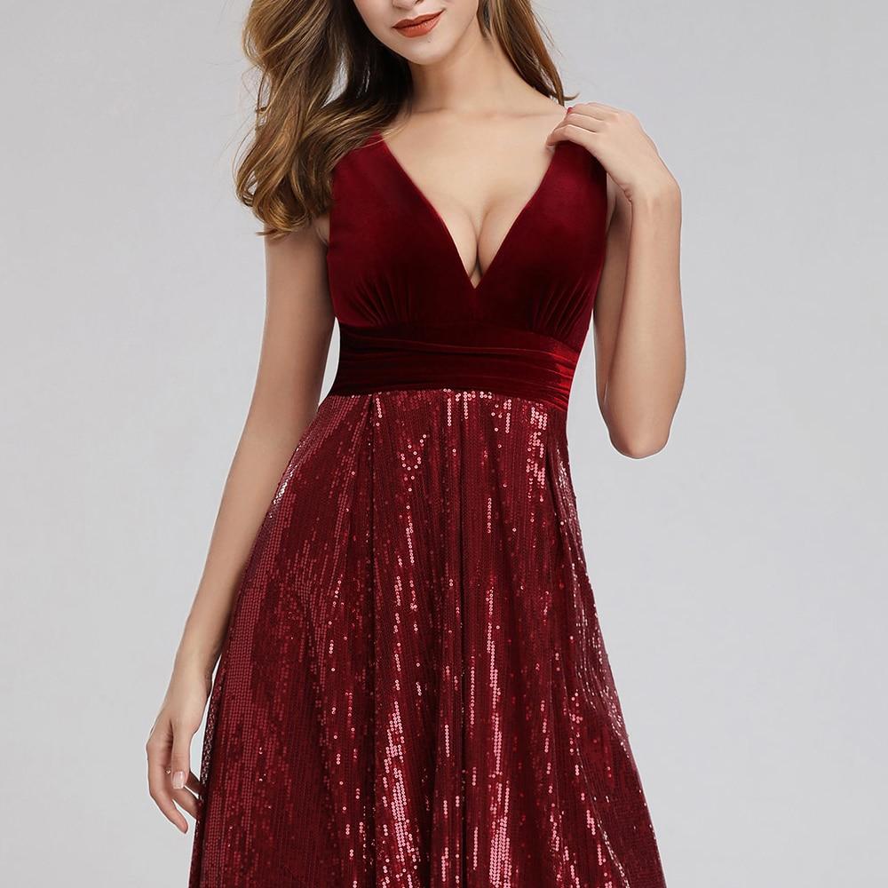 Купить с кэшбэком Burgundy Evening Dresses V-Neck   velvet  Sequined Formal Dresses A-Line Women Elegant Party Gowns Lange