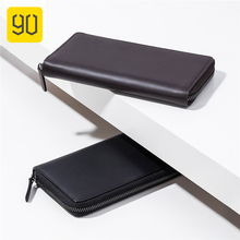 90FUN Calf Leather Travel Wallet Waterproof Anti-theft Zipper Passport Card Bag Credit Card Holder Bag 90fun