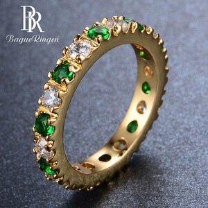 Image 1 - Bague Ringen כסף 925 טבעת עם 3MM זירקון אמרלד חן מקפץ רטרו מדהים קלאסי טבעת אישה Jewerly מתנה size5 9
