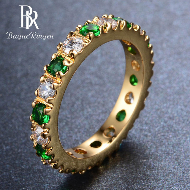 Bague Ringen כסף 925 טבעת עם 3MM זירקון אמרלד חן מקפץ רטרו מדהים קלאסי טבעת אישה Jewerly מתנה size5 9