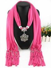 Rhinestone petals openwork leaves fringe pendant scarf flower rose jewelry polyester scarf lady shawl neck scarf pendant scarf rose bush pattern gossamer scarf