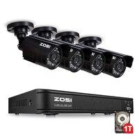 Mejor ZOSI 720P 8CH 4 en 1 CVBS AHD TVI CVI Sistema de CCTV de visión nocturna al aire libre sistema de cámara de vídeo de vigilancia DVR Kit videcam